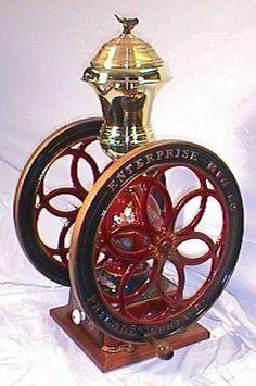 Antique cast iron coffee grinder.