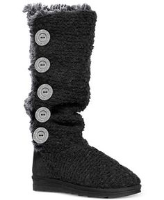 Muk Luks Women's Malena Faux-Shearling Sweater Boots. Love the Sharkfin Snowflake color!
