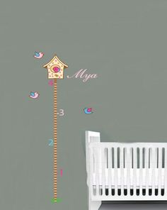 kids vinyl wall decal birdhouse growth Chart with by wallinspired, $50.00