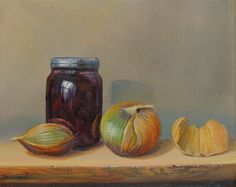 Still life oil painting of onions and canned vegetables.  Size: 30cm x 24cm.  The painting is ready to hang, and comes with a Certificate of Authenticity, signed by the artist and the gallery. A...
