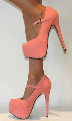 Love the style and colour! Peach, buckled in platform heels #stiletto #fashion