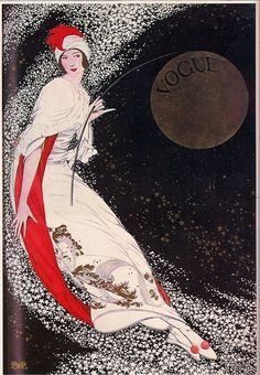 Illustrated Vogue cover, not sure of year. Lady with moon behind her.