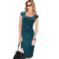 VfEmage 2015 Women Belted Elegant Floral Print Check Cap Sleeve Tunic Work Business Casual Party Pencil Sheath Wiggle Dress 288