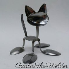 Kitten Love spoon cat silverware sculpture welded metal art