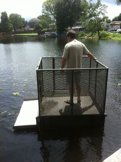 4x8 dock for duck blind | floating duck blind with dogs step on the side