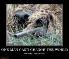 A USMC Scout Sniper and spotter pair with Marine Expeditionary Unit (MEU) Special Operations Capable (SOC). The sniper is armed with a rifle. Military Quotes, Military Humor, Military Police, Military Art, Camo Pictures, Military Pictures, Camouflage, Ghillie Suit, Survival