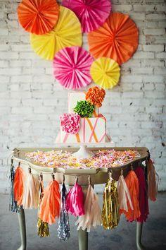 neon party, color, wedding cakes, tassel, pinwheel, neon wedding, garland, cake tables, parti