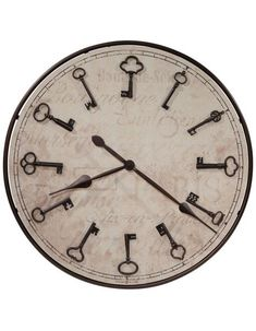 The Howard Miller Cle Du Ville Round Wall Clock features a classic design with an ambiguous, modern update. Showcasing a generously size round face and a brilliant bronze finish, this enigmatic clock features skeleton keys as hour marks for added allure. Old Fashioned Clock, Howard Miller Wall Clock, Big Wall Clocks, Clock Art, Wood Clocks, Clock Decor, Oversized Clocks, Parchment Background, How To Make Wall Clock