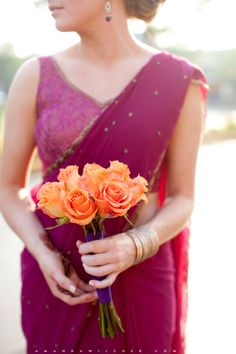 similar color for bridesmaid saris, maybe mixing more colors in bouquet