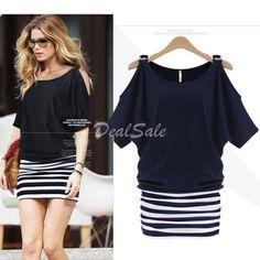 Women's Summer Short Sleeve Striped Stitching Off shoulder Dress ONLY $7.19