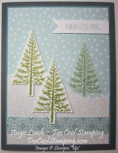Festival of Trees Dazzling Winter Scene - festival of trees, tree punch, dazzling diamonds glimmer paper, all is calm washi tape, stampin up, cards, holiday, christmas, winter, snow, trees  Details at www.toocoolstamping.com