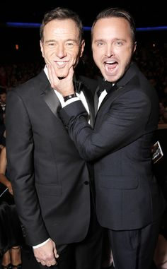 Bryan Cranston & Aaron Paul from 2013 Emmys: Stars in the Audience & Backstage Aaron Paul, Best Tv Shows, Best Shows Ever, Breaking Bad Cast, Bryan Cranston, The Emmys, Cultura Pop, Celebs, Celebrities