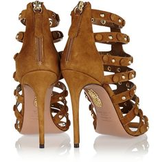 Aquazzura Very Wild studded suede sandals (€700) ❤ liked on Polyvore featuring shoes, sandals, zipper shoes, suede leather shoes, caged sandals, studded high heel shoes and zipper sandals