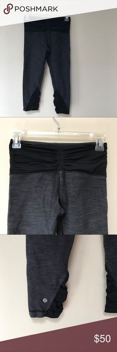 Two pairs of Lululemon Pants Two pairs of size 4 Lululemon pants •First pair is Capri length detailed with black material cinching at waist (sides, center, and back) and at calves.  They rest of the pant is a gray blend.  •Second pair is 2-n-1 with reversible band. O e side is purple tone cheetah print and second is color blocked with same pattern. Lululemon logo located on both sides.    🚫No trades 🔵All offers considered  📦All orders shipped within 24hrs (business day) lululemon…