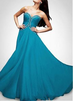 Glamorous Chiffon  A-Line Sweetheart Neckline Prom  Dress With Stunning Beadings