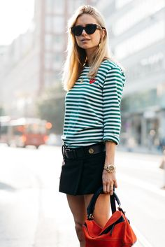 scandi-chic is apparently a thing // stripes, preppy, nautical, sunglasses, summer style, womens fashion, womens style, street style, stockholm, fashion week