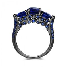 Round Cut Three-stone Sapphire Rhodium Plated Sterling Silver Women's Engagement Ring - Jeulia Jewelry