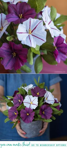 #CrepePaper Petunias pattern and tutorial at www.LiaGriffith.com