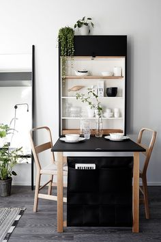 my scandinavian home: A beautiful and smart tiny one room flat in Finland Small Dining Room Furniture, Dining Room Design, Dining Room Table, Wood Table, Diy Table, Small Dining Area, Space Saving Furniture, Round Dining, One Room Flat