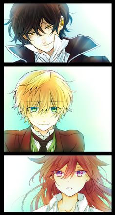 "Pandora Hearts, Gilbert Nightray a.k.a. ""Raven"", Oz Vessalius, and Alice Baskerville."