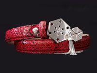 Accessories  - Belt Buckle 02 by Feirouz Jewellery in silver 925. Red python belt.