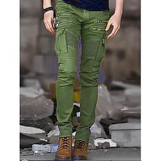 Men's Mid Rise strenchy Slim Chinos Pants, Casual Military Punk & Gothic Solid Cotton Spring, Fall, Winter, Summer All Seasons 2018 - €22.52