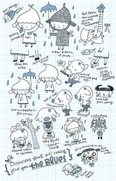 rainy day character illustration