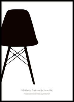 Sort-hvid plakat med klassisk stol.