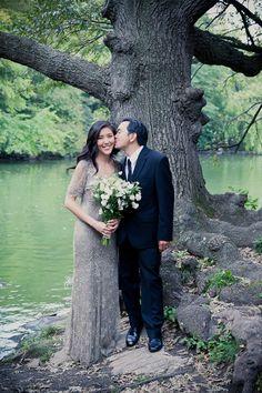 gray thrift store evening gown as wedding dress:   central park elopement garden wedding from mademoiselle fiona