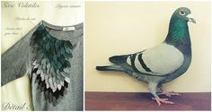 """Pigeon""   Lebestiaire ""Série Volatiles"" sweat-shirt embroidered with leather feathers"