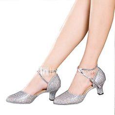 557b180132 Mulheres Sapatos de Dança Latina Glitter   Paetês   Sintético Sandália    Salto   Têni Lantejoulas   Apliques   Gliter com Brilho Salto Cubano Não ...