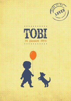 Geboortekaartje Tobi - Pimpelpluis - https://www.facebook.com/pages/Pimpelpluis/188675421305550?ref=hl (# jongen - dieren - hond - ballon - vintage - retro - silhouet - lief - origineel)