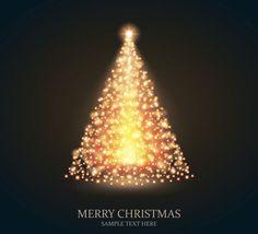 glowing light christmas tree vector