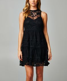 Look at this JGee Black Lace Sleeveless Dress - Women on #zulily today!