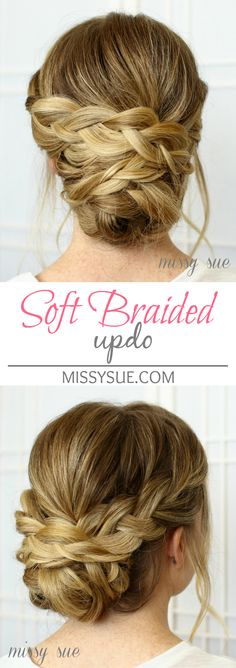 Soft Braided Updo bridal wedding hairstyles braided updo hairstyle ideas - Station Of Colored Hairs Braided Hairstyles Updo, Fancy Hairstyles, Braided Updo, Wedding Hairstyles, Hairstyle Ideas, Vintage Hairstyles, Bridesmaids Hairstyles, Fishtail Braids, Updos With Braids