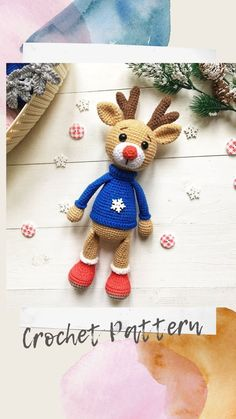 Tutorial pdf by crochet pattern reindeer. This pattern includes the description of how to crochet a reindeer. New year's deer is one of the best gifts for children! Crochet Cat Pattern, Dog Pattern, Crochet Bear, Crochet Toys Patterns, Amigurumi Patterns, Crochet Dolls, Handmade Ideas, Etsy Handmade, Handmade Crafts