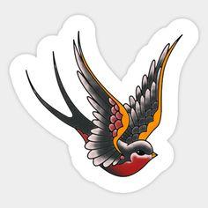 Swallow Tattoo Design, Swallow Bird Tattoos, Tattoo Design Drawings, Tattoo Sketches, Traditional Swallow Tattoo, Traditional Style Tattoo, Traditional Tattoo Flash Art, Traditional Tattoo Drawings, Traditional Flash
