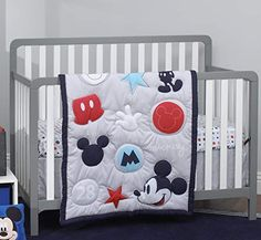Disney Amazing Mickey Mouse 3 Piece Nursery Crib Bedding Set Grey Navy Red Blue *** Check this awesome product by going to the link at the image. (This is an affiliate link) Bedroom Comforter Sets, Blue Crib, Baby Crib Bedding Sets, Grey Crib, Crib Sets For Boys, Toddler Girl Bedding Sets, Baby Nursery Furniture, Nursery Bedding, Quartos