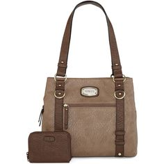 Rosetti Edge Out Tote (170 BRL) ❤ liked on Polyvore featuring bags, handbags, tote bags, brown purse, zip top tote bags, brown handbags, rosetti handbags and brown satchel purse