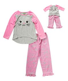 Another great find on #zulily! Pink & Gray Kitty Pajamas & Doll Pajamas - Girls #zulilyfinds