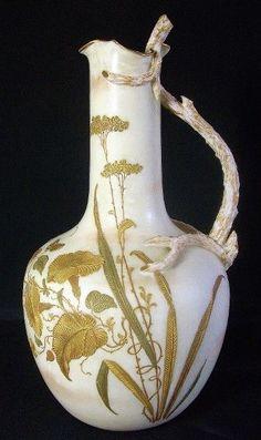 Royal Worcester Porcelain Blush Ivory Twig Handle Bottle Vase Ewer.