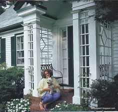 I may do this on the cottage porch, and plant a beautiful pink climbing rose on it for the garden.