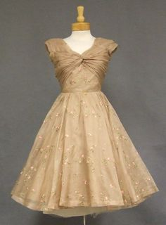 Carlye Tan Organdy 1950's Cocktail Dress w/ Floral Embroidery