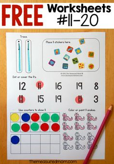 hands-on number worksheets are great for teaching basic skills to preschoolers!These hands-on number worksheets are great for teaching basic skills to preschoolers! Teaching Numbers, Numbers Kindergarten, Math Numbers, Teaching Math, Preschool Kindergarten, Learning Numbers Preschool, Decomposing Numbers, Free Printable Worksheets, Preschool Worksheets