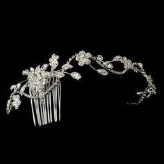 Silver Clear Rhinestone Floral Leaf Vine Wedding Bridal Hair Comb Accessory