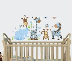 Pink & Gray Jungle Animal Wall Stickers And Elephant Wall Art Make Decorating Nursery Easy. Giant Wall Decals Will Transform A Room Rather Than Wall. Animal Wall Decals, Nursery Wall Stickers, Kids Wall Decals, Blue Wall Stickers, Wall Stickers Baby Boy, Yellow Nursery, Safari Nursery, Girl Nursery, Girls Bedroom