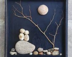 """Dieser Artikel ist nicht verfügbar Pebble Art Couple in the outdoors under a leaning tree and moon/sun set in an """"open"""" black wood shadow box (FREE S. Stone Crafts, Rock Crafts, Fun Crafts, Diy And Crafts, Arts And Crafts, Art Rupestre, Wood Shadow Box, Shadow Art, Pebble Pictures"""