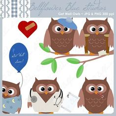 Get Well Owls Digital Clipart (includes a doctor, nurse, surgeon, patients, and more) - for get well cards, scrapbooking, handmade stationery, web design, and so on