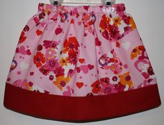 Hearts and Flowers Skirt  Size 2 to 7 by bubblenbee on Etsy