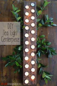 Free plans showing you how to create your very own tea light centerpiece from scrap wood. It makes for a perfect distress, rustic, fall centerpiece. Diy Projects To Try, Craft Projects, Craft Ideas, Decor Ideas, Lighted Centerpieces, Rectangle Table Centerpieces, Do It Yourself Furniture, Tea Lights, Woodworking Projects